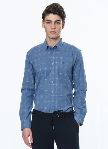 Beymen Business Slim Fit Kareli Gömlek 4B2021100128 Mavi